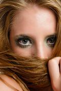 Autumnal makeup on young beautiful model Stock Photos