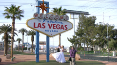 Newlyweds at the Las Vegas Sign 4K - stock footage