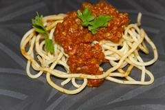 Fresh Cooked Spaghetti Bolognese Stock Photos