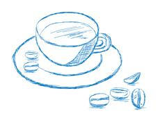 coffee and beans sketch - vector illustration - stock illustration