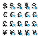 Stock Illustration of Currency icons set - dollar, euro, yen, pound