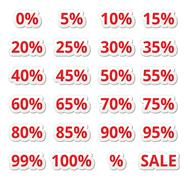 Stock Illustration of Retail sale percents % vector red icons set