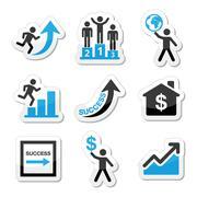 Success in business, self development icons set - stock illustration
