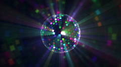 Stock Video Footage of Disco Ball Multicolour - Fly Around