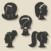 Women hairstyle icons Stock Illustration