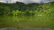 Stock Video Footage of Timelapse blue sky white clouds  over tropical lake in the Philippines