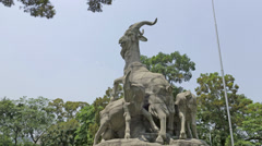 Time lapse of five goats statue 4k Stock Footage