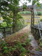 Metal bridge in Elan Valley, Wales - stock photo