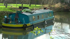 Canal boat moored Stock Footage