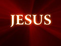 Jesus Text on Red Background - stock illustration