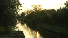 Canal waterway in late evening sun Stock Footage