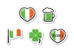 St Patricks Day icons - irish flag, clover, green beer Stock Illustration