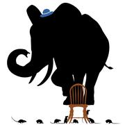 scared elephant - stock illustration