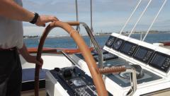 Captain Steering Boats Wheel Medium Stock Footage