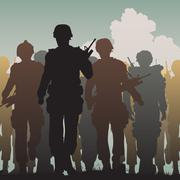 troops walking - stock illustration