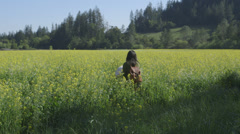 Girl walking into mustard flower field with a banket and backpack. Stock Footage