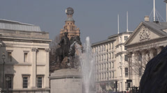 Trafalgar Square Statue and Fountain Stock Footage