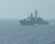"Russian military patrol boat, the destroyer ""Neustrashimy"" on the high seas - 01 Stock Footage"