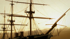 Old film look 19th century ship Stock Footage