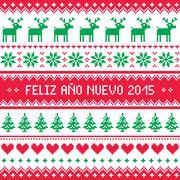Feliz Ano Nuevo 2015 - Happy New Year in Spanish pattern Stock Illustration