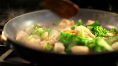 Saute Chicken And Vegetables 01 HD Stock Footage