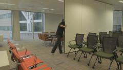 Boardroom Partition Being Moved Stock Footage