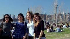 Four girlfriends are photographed in the East River State Park. Stock Footage