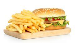 Hamburger and potato free . Stock Photos
