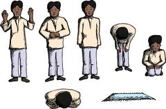 Positions of Prayer - stock illustration