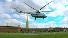 Helicopter flies near the Peter and Paul Fortress. St. Petersburg. Russia Stock Footage