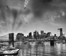 Amazing view of Manhattan and Brooklyn Bridge at sunset Stock Photos