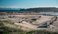 Stock Photo of breakwater in tarifa beach. andalusia, spain