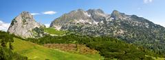 beautiful nature of alps mountains - stock photo