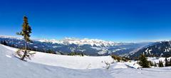 winter panorama of alps in austria - stock photo