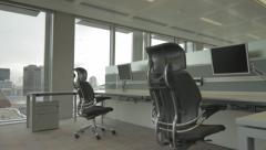 Empty Office Desks Dolly Shot Stock Footage