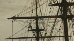 Ship (19th century) at sea near sunset Stock Footage