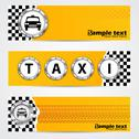 Stock Illustration of cool taxi company banner set with metallic elements