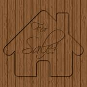 House sale sign carved in wood Stock Illustration