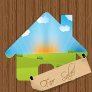 for sale sign with house cutout - stock illustration