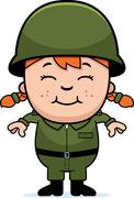 army soldier girl - stock illustration