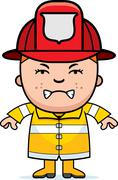 angry firefighter boy - stock illustration