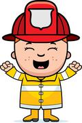 boy firefighter excited - stock illustration