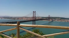 Lisbon Tagus Bridge , Seen From Almada Stock Footage