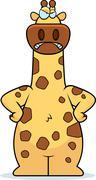 Stock Illustration of cartoon giraffe angry