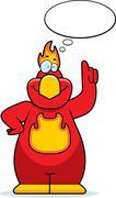 Cartoon phoenix thinking Stock Illustration