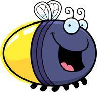 cartoon firefly smiling - stock illustration