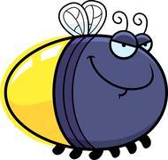 sly cartoon firefly - stock illustration