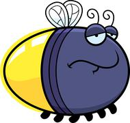 sad cartoon firefly - stock illustration