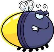 angry cartoon firefly - stock illustration