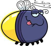 cartoon drunk firefly - stock illustration